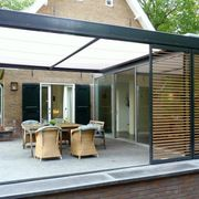 Pergola With Retractable Canopy Product Patio Pergola, White Pergola, Patio Roof, Backyard Patio, Pergola Kits, Outdoor Kitchen Patio, Outdoor Balcony, Outdoor Rooms, Outdoor Living