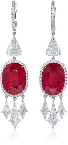Bayco Ruby and Diamond Drop Earrings