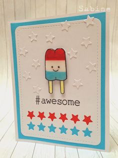 Lawn Fawn, red white & blue, here's the scoop, #awesome, popsicle