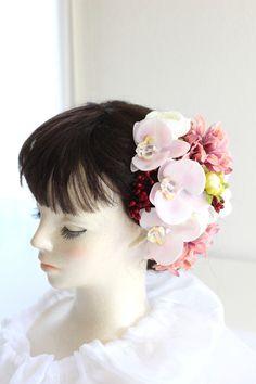 薄ピンク胡蝶蘭 和装ヘア飾り