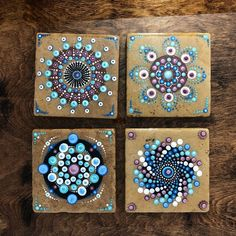 """Excited to share the latest addition to my shop: Natural Stone Tile Art – """"Burgundy and Teal"""" – Hand Painted set of 4 - Dot Art Painting, Mandala Painting, Stone Painting, Mandala Painted Rocks, Mandala Rocks, Mandela Art, Mandela Stones, Ceramic Tile Art, Mandala Canvas"""