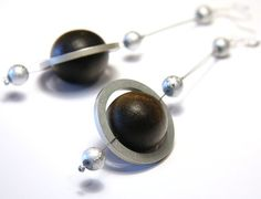 Rings of Saturn - Eco Jewelry - Planet Earrings - Eco Friendly Earring - made from computer hard drive spacer rings - Brown Silver Gray