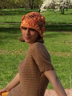 Купить Очаровательная вязаная шляпа в стиле 20-х годов - разноцветный, красный, желтый