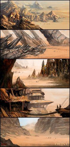 Frank Herbert`s Dune - Composition Thumbnails Landscape Concept, Fantasy Landscape, Desert Landscape, Frank Herbert, Environment Concept Art, Environment Design, Landscape Illustration, Illustration Art, Cyberpunk