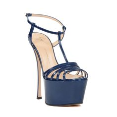 Stand and walk tall in this heel sandal from Giuseppe Zanotti. This shoe has a 6-inch heel and a 2.5-inch platform that adds to your height while accentuating your legs. Medium shoe width Available in