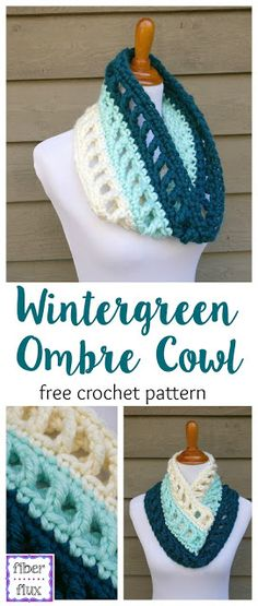 Free Crochet Pattern...Wintergreen Ombre Cowl. this would be perfect for football team colors!