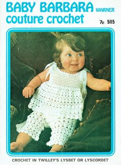 Items similar to PDF Vintage Baby Girl Crochet Pattern Dress & Bloomers Summer Angel Top Tunic Christening Twilleys 5115 Couture Crochet Lacy Cute on Etsy Vintage Knitting, Vintage Crochet, Baby Knitting, Sewing Patterns, Crochet Patterns, Baby Girl Crochet, Baby Christening, Knit Crochet, 1970s