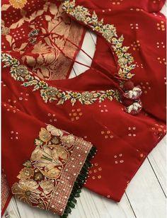Hand Work Blouse Design, Simple Blouse Designs, Stylish Blouse Design, Saree Blouse Neck Designs, Half Saree Designs, Blouse Patterns, Sleeves Designs For Dresses, Zardosi Work, Saris