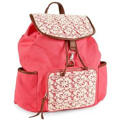 Aeropostale Floral Crochet Backpack (87 BRL) ❤ liked on Polyvore featuring bags, backpacks, accessories, bolsas, red jasper, day pack backpack, zip pouch, floral rucksack, crochet pouch and cotton pouch
