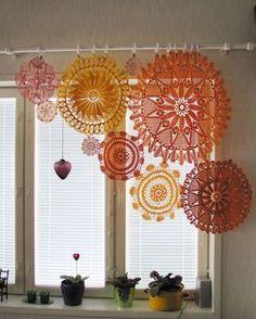 Assymetrical crochet doily curtains. Nice idea!