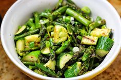 Grilled asparagus (and zucchini) in a red pepper flake, scallion, lemon and basil vinegrette