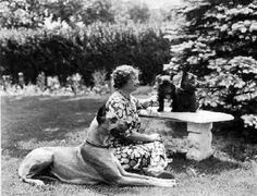 Helen Keller with her three dogs