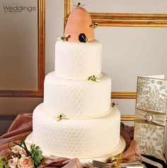 Three tiered beehive wedding cake