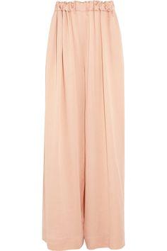 Stella McCartney|Ruched silk wide-leg pants|NET-A-PORTER.COM