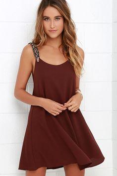 Maroon Beaded Dress ==