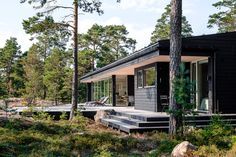 Summer house with a sea view in Porvoo, Finland. Finland Summer, Summer Cabins, Scandinavian Home, Cabins In The Woods, Beach House Decor, Coastal Style, House Rooms, Building A House, Outdoor Living