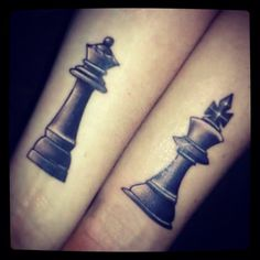 Our 1st anniversary tattoos! King & Queen Chess pieces.