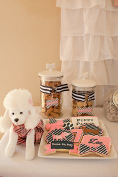 Cool cookies at a Puppy party!  See more party ideas at CatchMyParty.com!  #puppy #partyideas