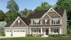 Craftsman Accented Four Bedroom HWBDO77531 Traditional from BuilderHousePlans.com