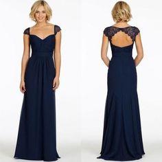 navy bridesmaid dress,Long bridesmaid dress,cap sleeves bridesmaid dress,2016 bridesmaid dress,BD446