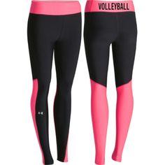 Women's Casual Clothing   Under Armour Women's HeatGear Volleyball Legging - Black/Pink