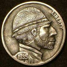 DAVID JONES HOBO NICKEL - 1935 BUFFALO PROFILE.. Hobo Nickel, Modern Artists, Coin Collecting, Skull Art, Art Forms, Sculpture Art, Coins, Carving, Xmen
