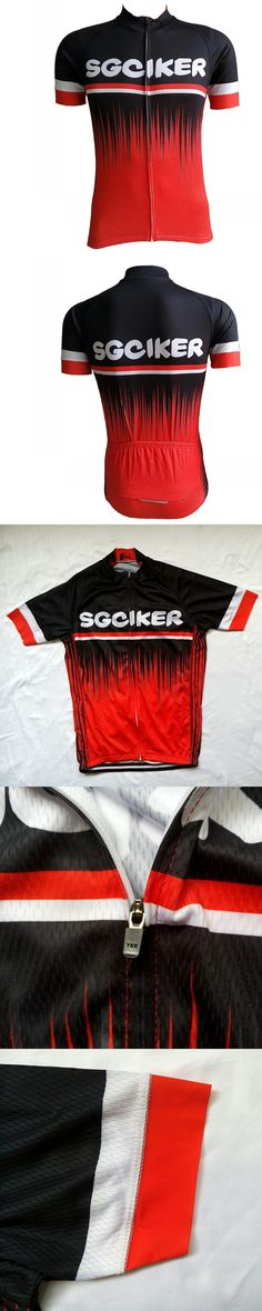 Black and red design SGCIKER pro cycling jersey summer short sleeve mens bike top shirt MTB Ropa Ciclismo italy elastic sleeves