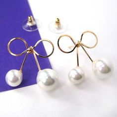 $8 Fancy Bow Tie Ribbon Knot Simple Stud Earrings with Pearls on Gold