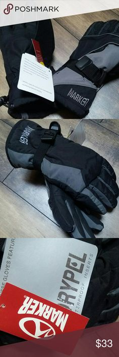 Marker ski gloves! Nwt!!! L or M mens Black and gray ski gloves by Marker.   brand new with tags.  Size men's medium or large.  Drypel inserts.  Best brand if ski gloves out there! Marker Accessories Gloves