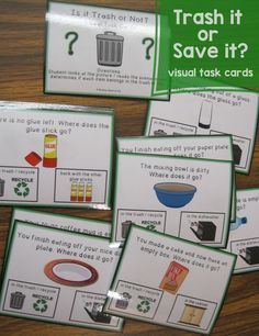 Trash or Not? Life Skill Visual Task Cards for Special Education - My best education list Life Skills Lessons, Life Skills Activities, Teaching Life Skills, Teaching Jobs, Skills List, Teaching Time, Work Activities, Language Activities, Therapy Activities