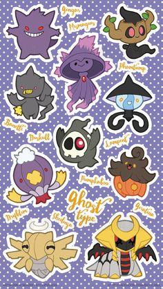 Ghost Type Pokemon by miaow - Poke Ball Pokemon Team, Ghost Type Pokemon, Pokemon Party, Pokemon Memes, Pokemon Fan Art, Water Type Pokemon, Pokemon Fusion, Giratina Pokemon, Pokemon Fantasma