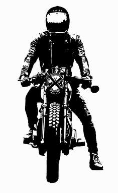 Rider by Halley Accessories Scrambler, Cafe Racer, Vintage Bike, Art, Illustration Shared by Motorcycle Fairings - Motocc Motorcycle Posters, Motorcycle Art, Bike Art, Motorcycle Tattoos, Biker Tattoos, Motorcycle Design, Bike Design, Art Tattoos, Motos Vintage