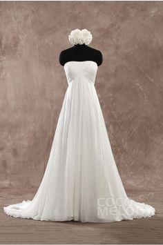 Perfect Sheath-Column Strapless Empire Train Chiffon Ivory Sleeveless Lace Up-Corset Wedding Dress with Pleating PR1436 #weddingdress #cocomelody