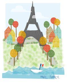 Items similar to Paris France art print - - Eiffel Tower Paris city poster illustration wall decor on Etsy Illustration Parisienne, Paris Illustration, Travel Illustration, Tour Eiffel, Art Parisien, Fall Collection, Image Deco, France Art, Paris City