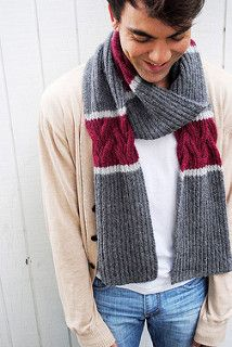 This simple scarf is an excellent alternative to your typical garter stitch or ribbed scarf. Reversible ribbed cables are accented with a punch of color and then flanked with another contrasting color, making it both relaxing and stimulating to knit. Mens Scarf Knitting Pattern, Crochet Mens Scarf, Crochet Scarves, Knitting Designs, Knitting Patterns, Man Scarf Knit, Men Scarf, Men's Scarves, Modelos Fashion