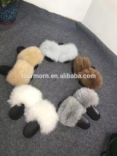 5b07cbe8f13 Hot Sell Women fox fur Slide Slipper PVC Plastic Women fur Slipper