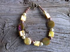 Mother of pearlcopper glass pearls bracelet  7 by windinhishare, $7.27
