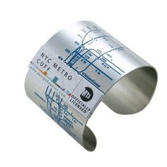 NYC Metro Cuff by Tiffany Burnette. Features cyan embossed lines, streets, and numbers of the notorious NYC subway system. Subway Map, Nyc Subway, Metro Subway, Metro Map, New York City Map, Sacs Design, Stainless Steel Jewelry, Geek Chic, Tech Accessories