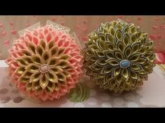 Канзаши мастер-класс. Афинка для волос. Композиция цветов Канзаши/Kanzashi Flower.DIY Ribbon - YouTube