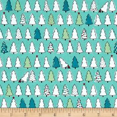 Ink & Arrow Mingle & Jingle Christmas Trees Dark Wintergreen from @fabricdotcom  Designed by Alicia Jacobs Dujets for Ink & Arrow, this cotton print fabric features rows of Christmas trees. Perfect for quilting, apparel and home decor accents. Colors include black, white, red, green and shades of blue.
