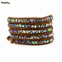 2017 fashion coloful crystal 4MM  wrap bracelet natural brown leather