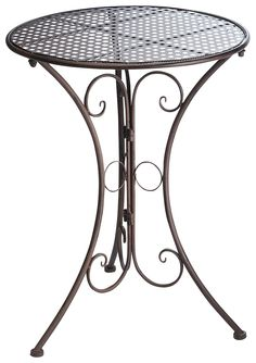 Artikeldetails:  Dekorativer Beistelltisch für den Balkon, In der Farbe Braun, Filigran gearbeitet,  Maße:  Maße (Ø/H): 60/70 cm,  Material/Qualität:  Aus Metall,  ...