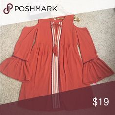 Boho dress Super cute. Brand new. With tags. Bell sleeves, slip underneath size is small but has plenty of room to be a medium also. Color says red cedar. Looks like a burnt orange to me. Xhilaration Dresses Midi