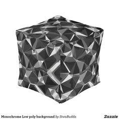 Monochrome Low poly background Cube Pouf