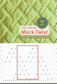 Mock Twist Lace Pattern Easy To Knit Lace Knitting, Knitting Stitches, Knitting Patterns, Eyelet Lace, Knitting Projects, Stitch Patterns, Crochet, Knits, Easy