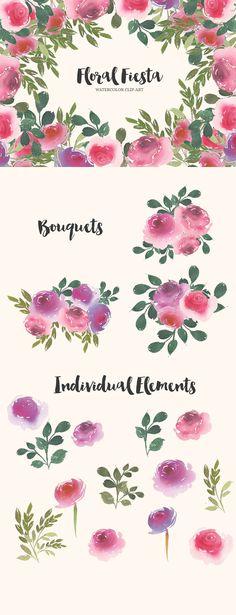 Floral Fiesta Watercolor Clip-Art - Illustrations - 1