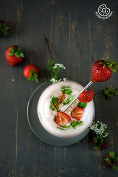 Strawberry Masala Chaas (Spiced Strawberry Buttermilk) #drinks #summer #foodstyling #foodphotography