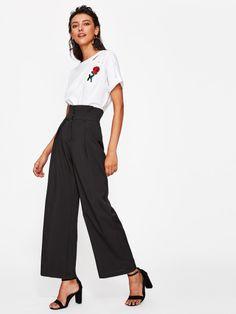 Pantalons jambe large taille haute -French Romwe