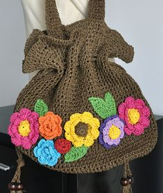 Floral Raffia  Brown Bag by jennysunny