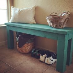 Simple 2x4 DIY entryway bench with custom mixed Annie Sloan chalk paint finish.  This is a simple project and is open underneath for baskets or crates for storing shoes and other items.